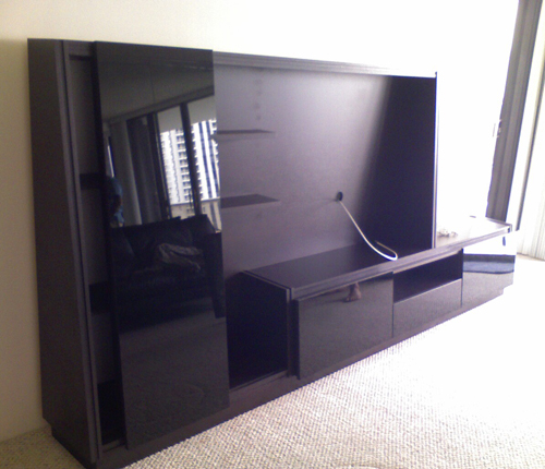 ENTERTAINMENT WALL FOR TABLE TOP TV - Black Color Glass Fronts w/ Wenge Matte Case