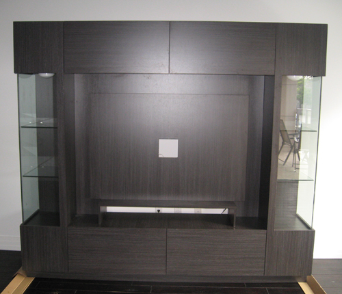 ENTERTAINMENT WALL FOR THIN PANEL MOUNTED TV - Greylight Matte Fronts w/ Greylight Matte Case
