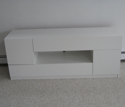 TV STAND - White Glossy Fronts w/ White Matte Case