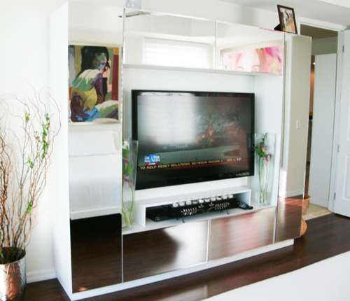 ENTERTAINMENT WALL UNIT - Mirror Bevel Mirror Fronts w/ White Matte Case