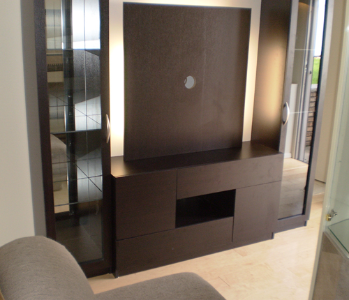 ENTERTAINMENT WALL FOR THIN PANEL MOUNTED TV - Wenge Matte Fronts w/ Wenge Matte Case