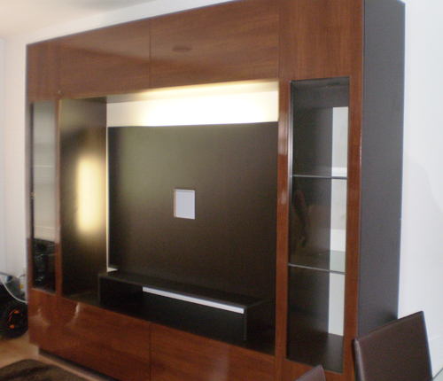 ENTERTAINMENT WALL FOR THIN PANEL MOUNTED TV - Java Matte Fronts w/ Wenge Matte Case