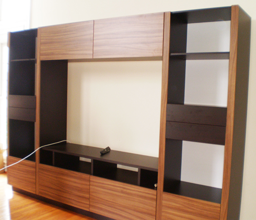 ENTERTAINMENT WALL FOR TABLE TOP TV - Walnut Matte Fronts w/ Wenge Matte Case
