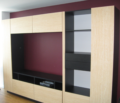 ENTERTAINMENT WALL FOR TABLE TOP TV - Sand Matte Fronts w/ Wenge Matte Case