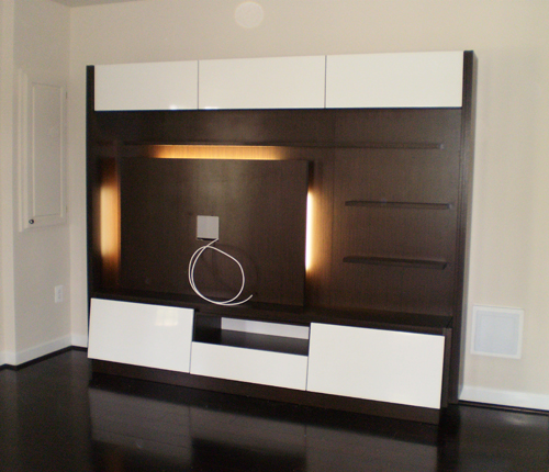 ENTERTAINMENT WALL FOR THIN PANEL MOUNTED TV - White Glossy Fronts w/ Wenge Matte Case