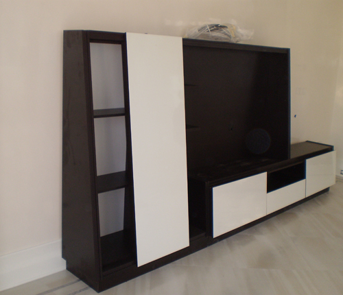 ENTERTAINMENT WALL UNIT - White Glossy Fronts w/ Black Matte Case