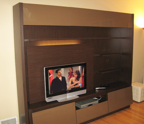ENTERTAINMENT WALL FOR THIN PANEL MOUNTED TV - Chocolate Color Glass Fronts w/ Wenge Matte Case