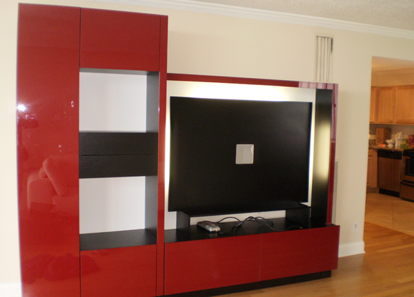 ENTERTAINMENT WALL FOR THIN PANEL MOUNTED TV - Red Color Glass Fronts w/ Wenge Matte Case
