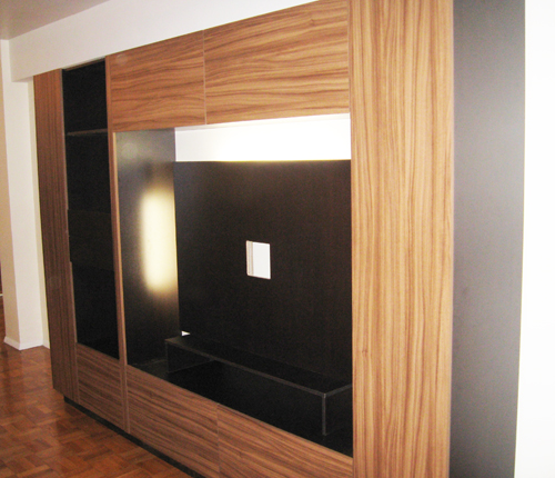 ENTERTAINMENT WALL FOR THIN PANEL MOUNTED TV - Walnut Matte Fronts w/ Wenge Matte Case