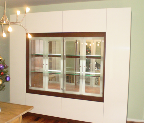 DISPLAY CABINET - White Glossy Fronts w/ Java Matte Case