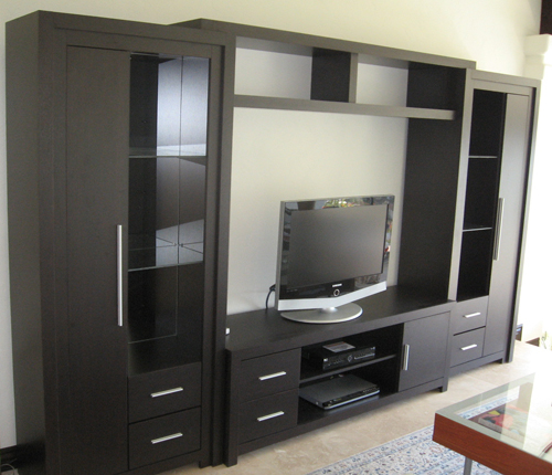 ENTERTAINMENT WALL FOR TABLE TOP TV - Wenge Matte Fronts w/ Wenge Matte Case