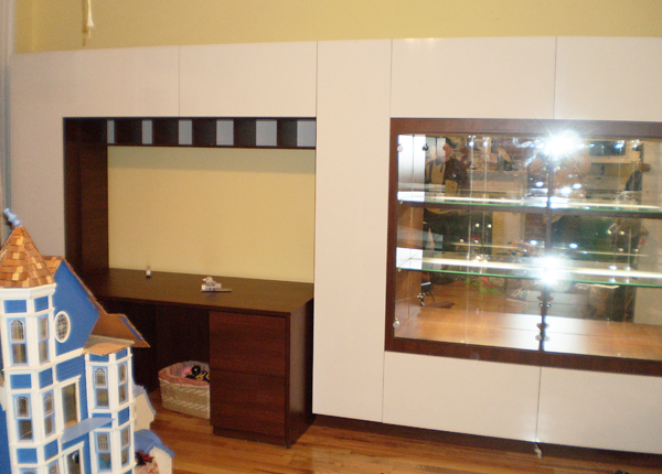 DISPLAY CABINET AND HOME OFFICE - White Glossy Fronts w/ Java Matte Case