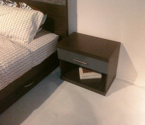 BEDROOM/NIGHT STAND - Distance Color Glass Fronts w/ Wenge Matte Case