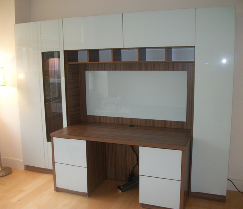 HOME OFFICE - White Glossy Fronts w/ Walnut Matte Case