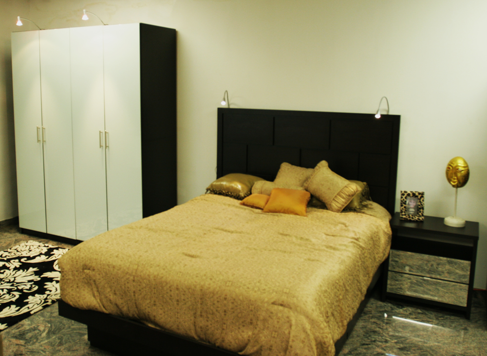 A Contempo Wardrobe and Headboard with LED attachments