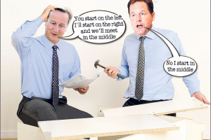 Flatpack rat pack ... Cameron and Clegg get to work