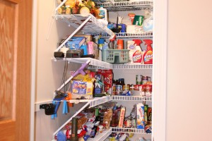 Clean out your kitchen and bathroom cabinets with same logic you apply to wardrobe closets.